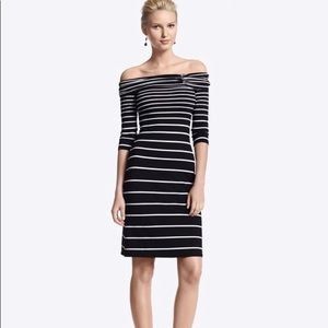 WHBM Off Shoulder Sexy Striped Dress S